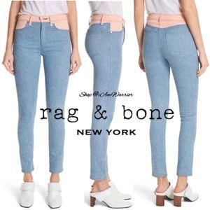 Rag & Bone high waisted color block skinny jeans